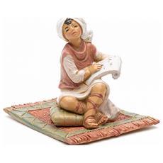 Ragazzo Seduto Con Pergamena 12cm In Resina Presepe (f-48)