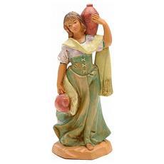 Donna Con Anfore 12cm Presepe In Resina (f-93)