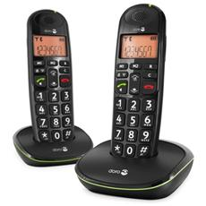 Cordless PhoneEasy 100w Duo, DECT, 50m, 300m, Nero, 20 Entrate, AAA