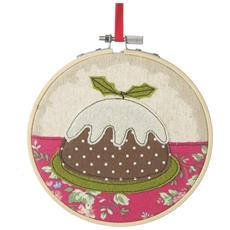 Christmas Pudding Decorazione Pendente A Punto Croce (13x13cm) (marrone / bianco)