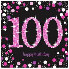 Tovaglioli Con Numero 100 Rosa Per Feste (pacco Da 16) (taglia Unica) (rosa / nero)