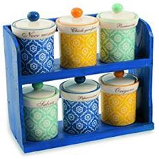 Marrakech Set Barattoli Portaspezie Con Stand, Ceramica, Azzurro / giallo, 7 Unità