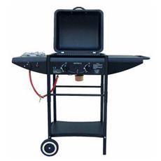 Barbecue a Gas e Pietra Lavica in Acciaio e Griglia Cromata