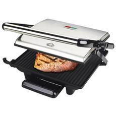 Eltronic ST3800 Griglia di contatto Da tavolo Elettrico 2000W Nero, Acciaio inossidabile barbecue e bistecchiera
