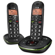 Cordless PhoneEasy 105wr Duo, DECT, 15 min, 50m, Nero, 20 Entrate, 10h