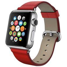 Cinturino WristBand in vera pelle per Apple Watch da 42mm - Rosso