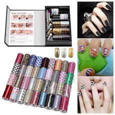 Nail Art Foils 6 Cartine Unghie Nails Manicure Kit Decorazioni Smalto Bianco Trasparente Disegni Casuali