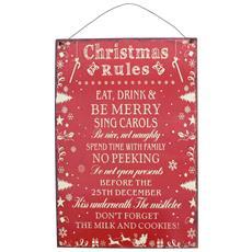 Christmas Rules Targa Decorativa Natalizia (taglia Unica) (rosso)