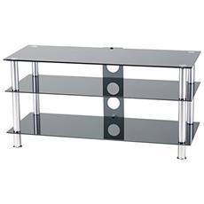 Mobiletto porta TV, 3 ripiani in cristallo da 1000mm