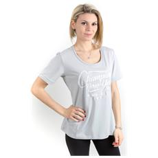 T-shirt Donna Scritta Glitter Grigio Xl