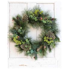 Ghirlanda Verde Ø60cm Addobbi Di Natale In Pvc Decorazione Casa