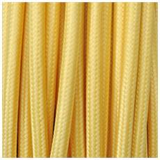 5 Mt Cavo Elettrico Tondo Rotondo Stile Vintage Rivestito In Tessuto Colorato Giallo H03vv-f Sezione 2x0,75 Per Lampadari, Lampade, Abat Jour, Design. Made In Italy