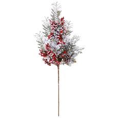 Rametto Innevato Con Bacche Rosse E Bianche 50cm Natale Addobbi