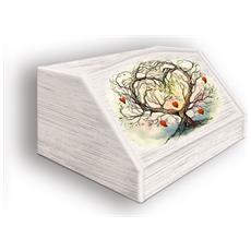 Portapane Con Decoro In 'l'albero Dell'amore Watercolor' In Legno Shabby Dalle Dimensioni Di 30x40x20 Cm