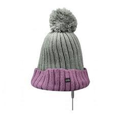 WinterCap Cappello Invernale con Cuffie Stereo Jack 3,5 mmcon Microfono e Tasto alla risposta - Colore Grigio / Rosa