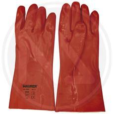 GUANTI da LAVORO in PVC 100% MAURER colore ROSSO Conf. 12 pz Taglia 10