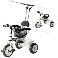 Triciclo Deluxe In Metallo Con Maniglione, Parasole, Barra Di Protezione, Bianco E Nero
