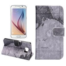 Custodia Portafogli Mappa per Samsung Galaxy S6 + Pellicola e Panno