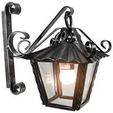 Lanterna per esterno in ferro battuto con portalampade vetro attacco E27