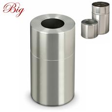 Gettacarte Pattumiera In Alluminio Satinato Apribile 45,5Xh82Cm