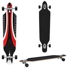 Longboard Della Ditta (104 X 23 X 9,5 Cm) - Cuscinetti A Sfera Abec 7 - Skateboard / Drop Through / Tavola Da Freeride / Tavola Da Cruising / Tavola Vintage / Colore: Nero-rosso-bianco