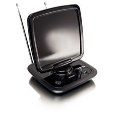 Ricezione digitale ottimizzata. Antenna amplificata da 46 dB. Interna amplificata da 46 dB (HDTV / UHF / VHF / FM) .