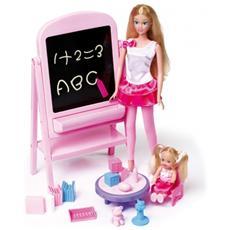 Bambola Tanya Insegnante Con Lavagna ed Accessori 27 cm