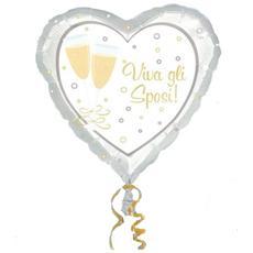 Palloncino Matrimonio In Mylar Cuore W Gli Sposi 46 Cm *03464