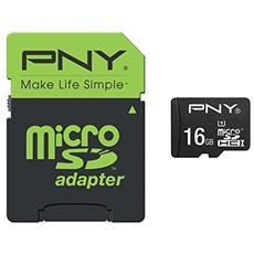 MicroSD UHS-I da 16 GB Class 10 + Adattatore SD
