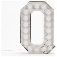 Lampada Lettera Q in Metallo con Lampadine LED Altezza 60cm - Linea Vegaz