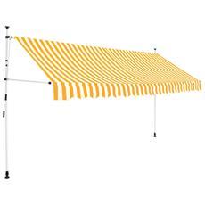 Tenda Da Sole Retrattile Manuale 400cm Strisce Gialle E Bianche