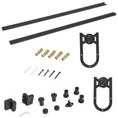 HOMCOM - Set Accessori Binario Spessore 34-40mm Per Installazione Porta  Scorrevole Acciaio Nero e50adfbbc747