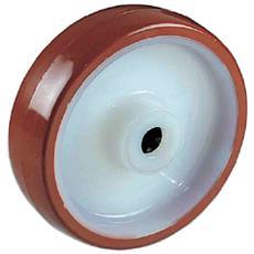 Ruota In Nylon Bianco Rivestita In Poliuretano Diametro Mm. 125 Portata Kg. 200 Mozzo Con Cuscinetto A Rulli Ruote Per Carrelli Settore Industriale