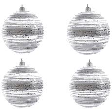 4 Palline Di Natale Argento Decorate 8 Cm Addobbi Albero Natale
