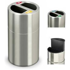 Gettacarte Pattumiera Per Raccolta Differenziata In Alluminio Satinato H82Cm