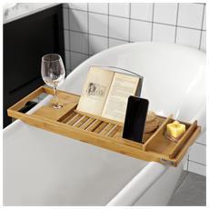 Mensola Per Vasca Da Bagno In Bambù, con Supporto Libri E Tablet, lunghezza In 70-104cm, FRG207-N