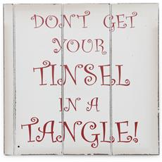 Piccolo Cartello Natalizio Dont Get Your Tinsel In A Tangle ((24cm X 24cm)) (bianco / rosso)