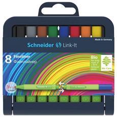 Fineliner Link-it, 0,4 Millimetri, Colori Assortiti, 8-stiftebox