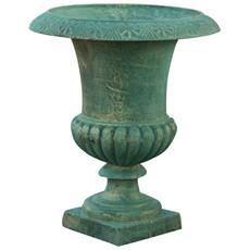 Vaso Con Manici In Fusione Di Ghisa Finitura Verde Bronzato Anticato L40xpr40xh46,5 Cm