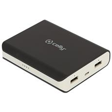 Batteria Esterna 8000 mAh con Doppia Porta USB (2,1A + 1A) Cavo Micro-USB Incluso Colore Nero