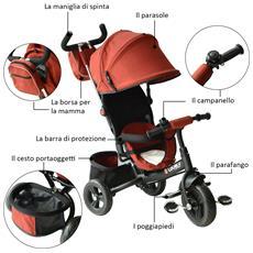 Triciclo Passeggino Con Maniglione E Tettuccio Struttura In Metallo, Nero E Rosso