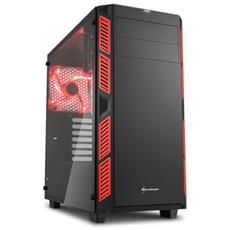 Case PC AI7000 Glass MiddleTower ATX / Micro-ATX / Mini-ITX 2 Porte USB 3.0 Colore Nero / Rosso