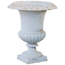 Vaso Con Manici In Fusione Di Ghisa Finitura Bianco Bronzato Anticato L40xpr40xh46,5 Cm