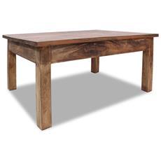 Tavolino Da Caffè In Legno Massello Recuperato 98x73x45 Cm
