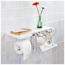 Porta Carta Igienica Da Bagno Con Supporto, bianco, Frg175-w