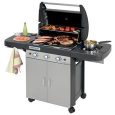 Barbecue a Gas in Acciaio con 3 Bruciatori Ripiani Laterali e Dispensa