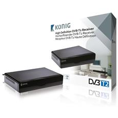König DVB-T2 FTA10, Terrestre, DVB-T2, 1080p, 195 x 200 x 62 mm, Digitale, 16:9