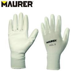 Paio di guanti da lavoro tessuto poliuretano fodera in nylon Tg 9