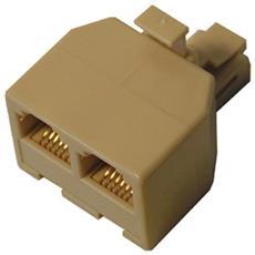 Adattatore Sdoppiatore Rj11 Plug Telefonico 1 Spina 6p4c 2 Prese Plug 6p4c
