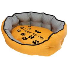 Cuccia Imbottita, comoda Per Cani Misure: 50x40xh19 Cm. Colore Giallo